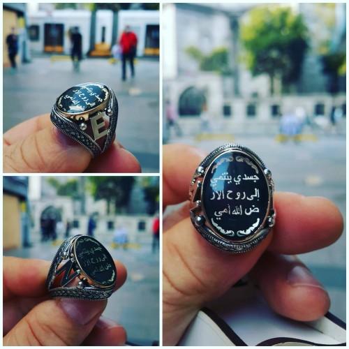 925 ayar gümüş kişiye özel arapça(Bedenim toprağa,Ruhum Allaha,Yüreğim kadınıma aittir.HAT yazılı erkek yüzük