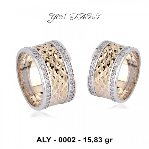 925 Ayar Gümüş Rozz ve Rodyum Kaplama Zirkon Taşlı Alyans