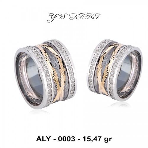 925 Ayar Gümüş Rozz ve Siyah Kaplamalı Zirkon Taşlı Rodyumlu Alyans